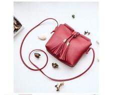 Mini Korean Leather Tassel Sling Bag (Red)