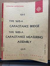 General Radio Instruction Manual Gr 1615 A Capacitance Bridge 1620 A Service