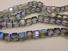 Electroplate Glass Beads, Faceted, Cube,  purple /  Blue 10x10x10mm, Hole 1.5mm