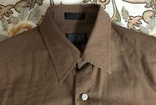 DKNY Slim Fit Men's Casual Shirt Brown 14.5 32-33