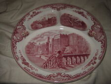 "Johnson Brothers OLD BRITAIN CASTLES PINK 11"" 3 Section Divided Grill Plate"