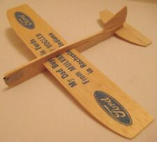 "Rare Old Balsa Wood Toy Ford Car Advertising Airplane 7 3/4"" W S Rochester Ind"