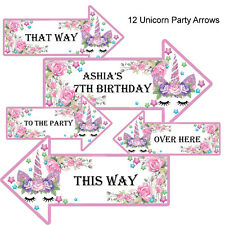 10 x Personalised Unicorn Party Arrows/ 1st 2nd 5th 7th any age/Named Arrow Sign