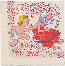 Paper Napkin Baby Kicks Father Time Out Happy New Year Hour Glass Sickle