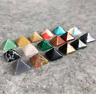 Natural Tumbled 7 Chakra Stones Pyramid Figurine Crystal Reiki Healing Set