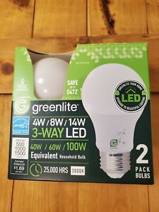 Greenlite LED Bulb Omni A19 3 Way 40/60/100W 3000K Replacement 4W/8W/14W 2 Pack