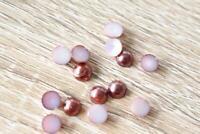 VJ06 Brown 100pcs 6x6mm Pearl Round Flatback Rhinestones Jewels Beads