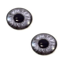 Pair of 30mm Gray Fantasy Steampunk Glass Eyes for Jewelry or Doll Making