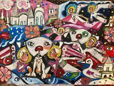"Messydog & Angels Primitive Outsider Rural Oil Mixed Media Canvas 15""Folk Art"