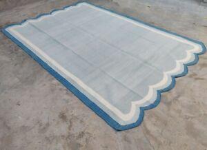 Cotton Rug Rag Handmade Scallop Edge Striped Grey & White Dhurrie Area Rug Kilim