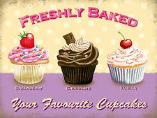 Freshly Baked Cupcakes, Retro metal Sign vintage, Kitchen, Cafe, Gift