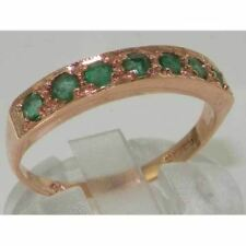 STUNNING ENGLISH MADE SOLID 9CT ROSE GOLD GENUINE NATURAL EMERALD ETERNITY RING
