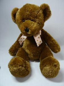 "2000 Animal Alley Toys R Us Brown Teddy Bear Plush 11"" Sitting Stuffed with Bow"