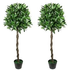 4 ft Artificial Topiary Bay Tree Pair Potted for Outdoor and Indoor Usel