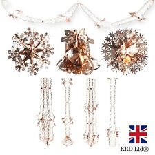 Rose Gold Christmas Foil Ceiling Decoration Garlands Bells Stars Snowflakes UK