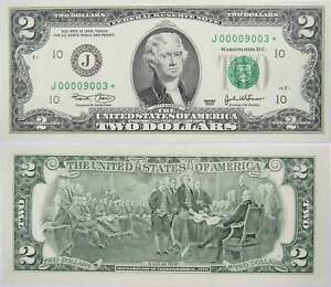 2003 $2 Federal Reserve Star Note 4 Digit Serial Number Liars Poker 6 of a Kind