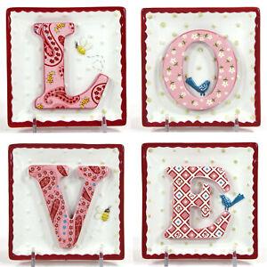 "MWW Market BEE MINE 4.5"" Mini Plate Set 4Pc 3D LOVE Letters Valentine's Day"