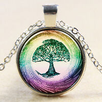 HOT! Fashion Vintage Bronze Or Silver Life Tree Pendant Glass Cabochon Necklace