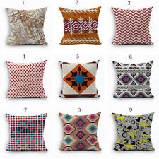 Cotton Linen Aztec Bohemia Geometric Abstract Pillow Case Cushion Cove New