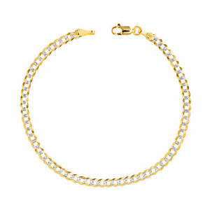 """10K Yellow Gold Solid 4mm Pave Diamond Cut Curb Cuban Chain Bracelet Anklet 9"""""""