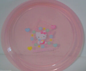 "Plate Hello Kitty and Friends Kids Sanrio 7""  Light Pink Hearts Flower Animals"