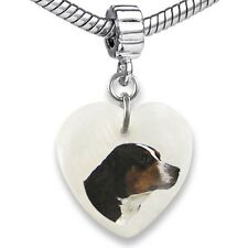 Swiss Mountain Dog Heart Mother Of Pearl European Charm Bead For Bracelet EBS21