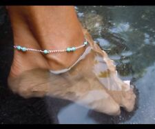 Beautiful Anklet, Foot Chain, Payal, With Blue Beads UK Seller