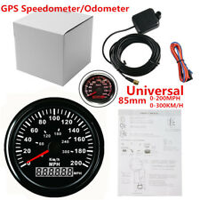 "Round Car SUV UTV 3-3/8"" GPS 200MPH 300KM/H Speedometer LED Backlight Black Face"