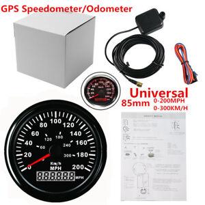 "Round Car SUV UTV 3-3/8"" GPS 200MPH 300KM/H Speedometer LED Backlight Black Face"