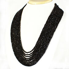 AAA 355.40 CTS NATURAL 10 STRAND RICH BLACK SPINEL ROUND CUT BEADS NECKLACE
