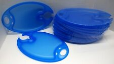 Evans Blue Appetizer Plates with wine glass/soda can holder