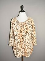CHICO'S $78 Tan Leopard Print Smocked Tunic Top 3/4 Sleeve 2 / Large