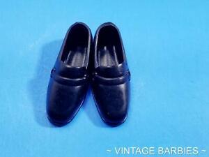 Ken Doll Black Rubber Loafer Shoes MINTY ~ Vintage Mod 1970's
