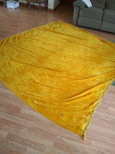 Vintage 1970's Gold Color Crushed Velvet Bedspread With Fringe Full Size