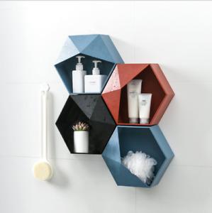 Wall Mounted PP Shelf Tray Geometric Hexagon Storage Box Rack Holder Organizer