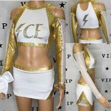 "Real Cheerleading Uniform  Lady Lightning Ice Allstar   Top 34""Skirt 28-30""waist"
