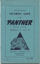 Panther Moto Modèles 65 & 75 Original Illustrated liste des pièces de rechange 1950