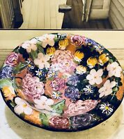 Lesal Ceramics Hand Painted Floral Bowl by Lisa Lindberg 15""