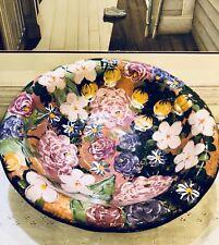 "Lesal Ceramics Hand Painted Floral Bowl by Lisa Lindberg 15"""