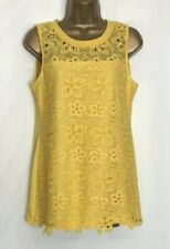 Dorothy Perkins Ochre Jersey Lined Sleeveless Crochet Lace Top Size 12 New
