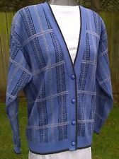 "60's Pendleton Cornflower Blue with Black & Gray's Cardigan Sweater M 38"" B VGC"