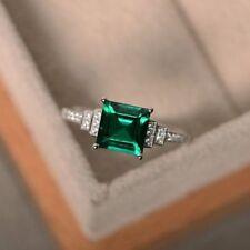 2.5ct princess cut green emerald d vvs1 diamond wedding ring 14k white gold over