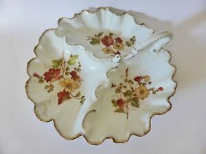 Victorian Serving Dish, c.1890, Antique Floral Divided Dish, Hand Finished Bowl