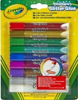NEW Crayola 9 Washable Glitter Glue Coloured Glue Pens Dries in 30 Minutes