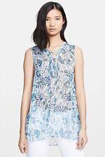 Rachel Zoe Magnolia Lace Up Silk Tunic Top Paisley Blue Floral $195, Sz 0, Nwt!