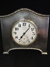 Antique Sterling Silver Cased Desk Clock By Walker & Hall,1927,Sheffield