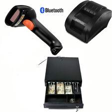USB 58mm POS/ESC Printer+RJ12Cash Drawer 2Coin+1D Laser BluetoothBarcode Scanner