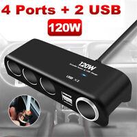 12V 24V Multi Socket Car Cigarette Lighter Splitter USB Charger Adapter