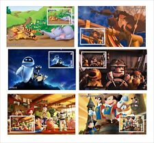 DISNEY Mickey mouse WALL-E TREASURE PLANET TOY STORY WINNIE UP 6 SOUVENIR SHEETS