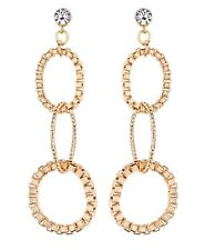 CLIP ON EARRINGS - gold drop earring with three linked rings - Kaiya G